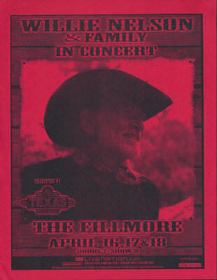 Willie Nelson and Family Fillmore San Francisco 2007 Flyer Red