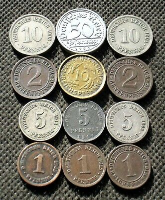 Lot Of Twelve Old Coins Of Germany (German Empire & Weimar Republic) Mix 437
