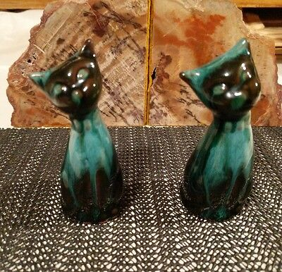 "Blue Mountain Pottery Pair of Siamese Cats 3.5"" Mint Condition #Canadian"