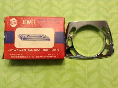 """NEW OLD STOCK Vintage Reliable """"Jewel"""" Tumbler & Toothbrush Holder Chrome #375"""