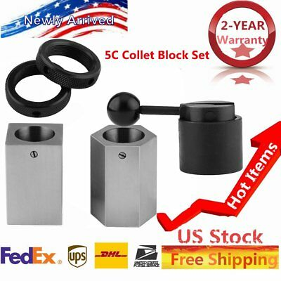 5Pcs 5C-CB Collet Block - Hex Collet Block, Square Collet Block and Collet Set K
