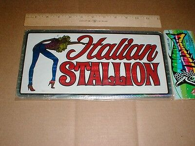 Italian Stallion Foxy Lady 1970s vtg NOS unused license plate car tag new prism