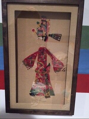 Vintage Chinese Pi Ying Xi Shadow Box Puppet Art Framed