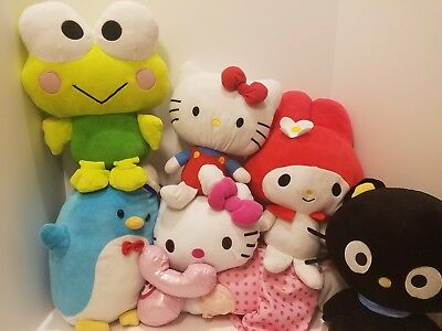 Lot of 6 SANRIO PLUSH DOLLS; Hello Kitty, Keroppi, Chococat, Sam and My Melody