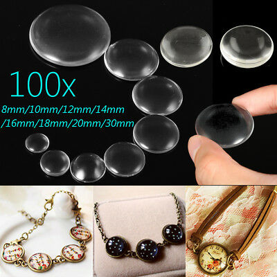 100X Flat Back Transparent Half Round Clear Glass Domed Cabochons Cover Finding