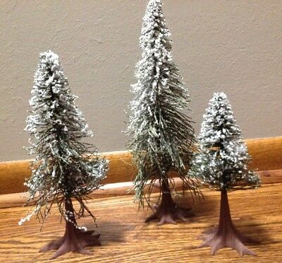 Dept 56 Snow Village Collection Accessory 3 Evergreen Trees Snow Covered