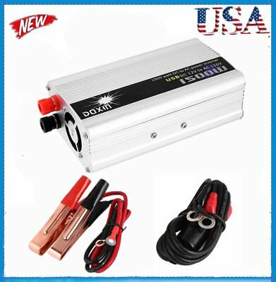 DC 12V to AC 110V Portable Car Power Inverter Charger Converter 1500W WATT US BB