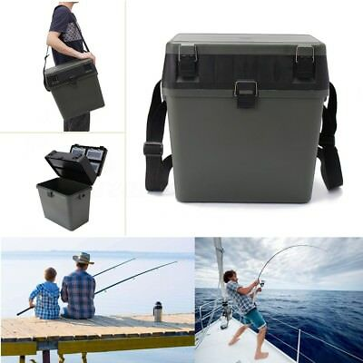 Lightweight Fishing Tackle Seat Box & 4 Removable Trays & Shoulder Strap AU
