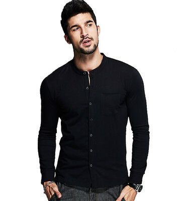 KUEGOU Men Casual Shirts Long Sleeve Slim Stand Collar Solid Business T-shirts