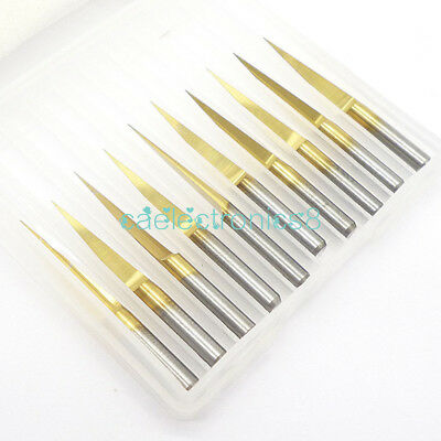3.175mm Carbide PCB Engraving Bits CNC Router Tool 10 Degrees 0.1mm V-Shap CA