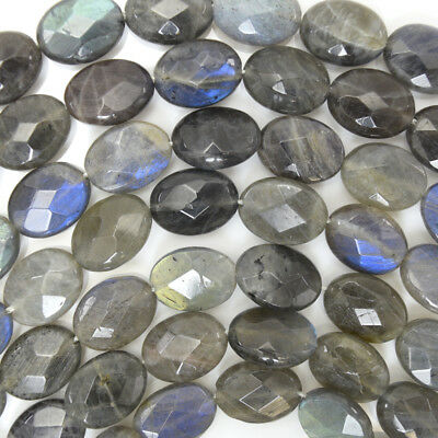 """16mm faceted grey labradorite flat oval beads 15.5"""" strand"""