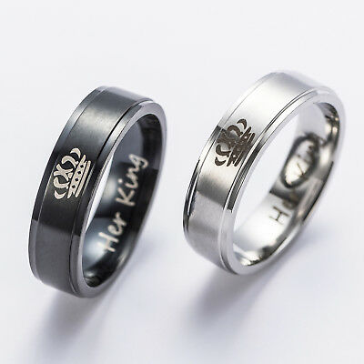 His Queen And Her King Stainless Steel Couple For Lover Engagement Rings Gift