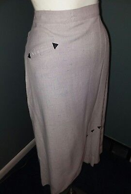 Vintage 50s Pencil Skirt Office Vixen Western Arrow Detail Wool Gabardine Pin Up