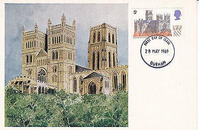 28 May 1969 Durham Cathedral Cameo Phq Forerunner Postcard Durham Fdi
