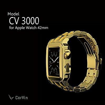 CorVin Premium CV-AW3000GG CV3000 Leather Band Gold Metal for Apple Watch Japan