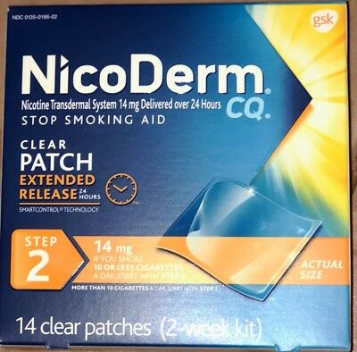 Nicoderm CQ CLEAR PATCH EXTENDED RELEASE STEP 2, 14 MG, 2 WEEKS KIT,14 PATCHES