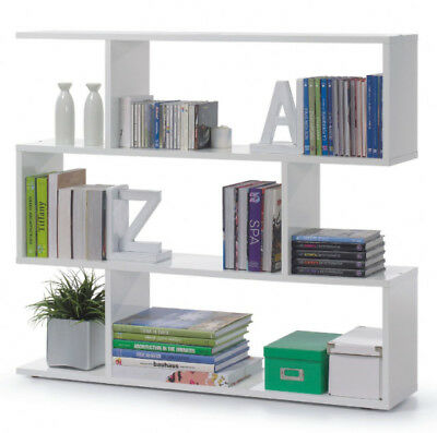 Ziggy Open Short White Gloss Bookcase Bookshelf Home Office shelf Furniture 2507