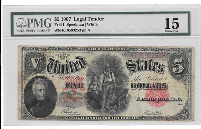 1907 $5 Red Seal United States Legal Tender Woodchopper Pmg 15 Choice Fine