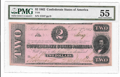 1862 $2 Confederate States Of America Richmond Virginia Pmg 55 About Unc