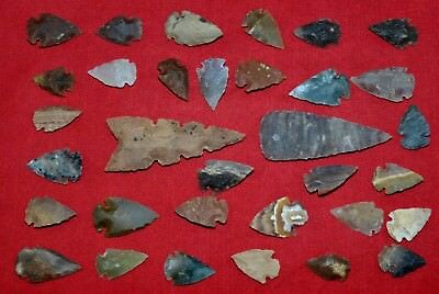 "33 PC Flint Arrowhead Ohio Collection Points 1-3"" Spear Bow Knife Hunting Blade"