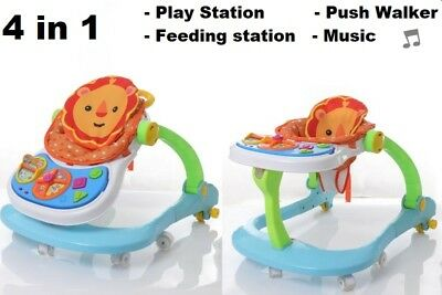 4 in 1 Baby Walker Adjustable Height Push Walker First Steps Activity with Music