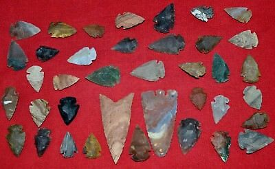 "37 PC Flint Arrowhead Ohio Collection Points 1-3"" Spear Bow Knife Hunting Blade"