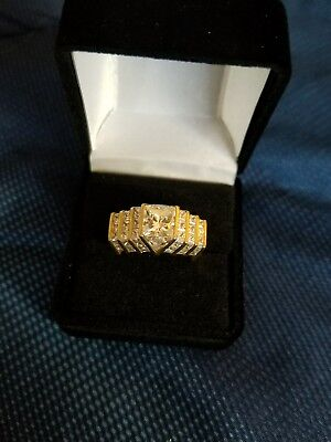 10K Solid Yellow Gold  CZ Cocktail Ring   9 Grams   Size 10.5  No Reserve