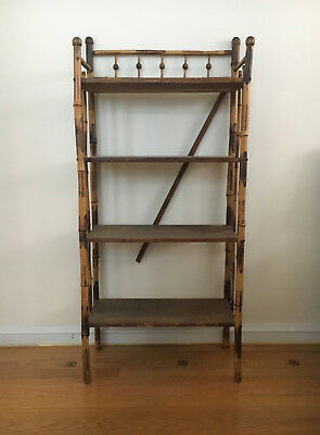 VICTORIAN Oak and Bamboo BOOKCASE CURIO 4 shelves painted early