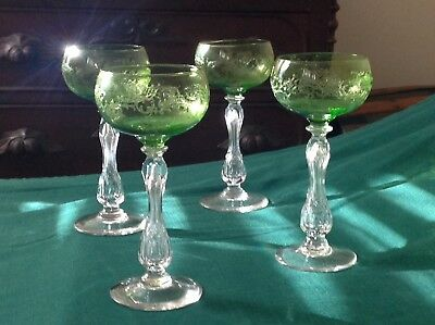 4 ST LOUIS French Crystal Wine Hocks Green Etched Bowls with Air Bubble Stems