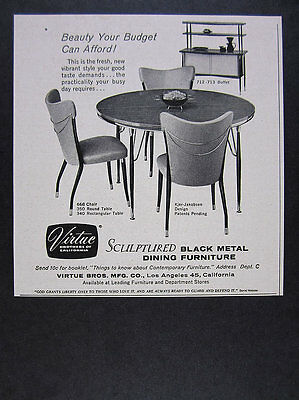 1956 Virtue Brothers Bros Black Metal Table Chairs Buffet vintage print Ad