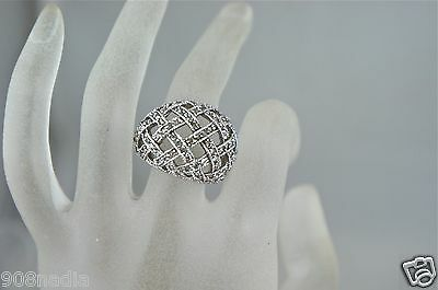 Vintage Silver Plate Wooven Art Deco Pave Crystal Woman Ring Size 8,5
