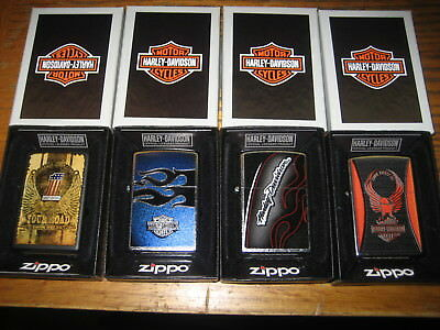 Lot of 4 HARLEY DAVIDSON  Zippo Windproof Lighters  NEW IN BOX