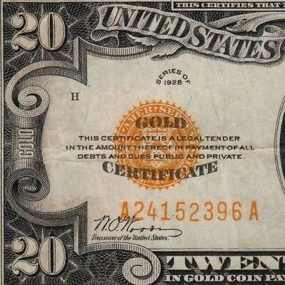$20 Gold Certificate 1928 Solid Eye Appeal