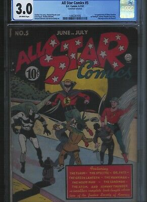 All Star Comics # 5 CGC 3.0  Off White Pages. UnRestored.