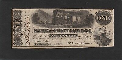 $1 Bank Of Chattanooga Tennessee  Obsolete 1863 Tougher Note