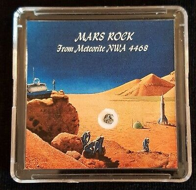 COLLECTOR EDITION- AUTHENTICATED MARTIAN METEORITE- 15mg Mars Rock Display+Easel