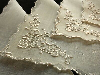 ~GORGEOUS~ 4 Cocktail Napkins Hand Embroidered Pina Cloth - Light, Airy, Elegant