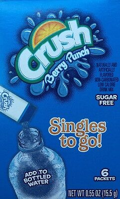 (6 Boxes) CRUSH BERRY PUNCH Singles To Go Sugar Free (6 Boxes- 6 pct per box)