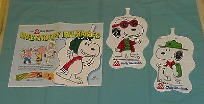 vintage DOLLY MADISON ZINGERS promo SNOOPY INFLATABLES with store sign Peanuts