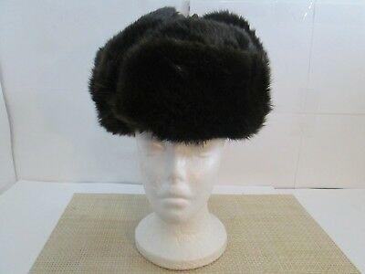 Vintage Russian Dark Brown Beaver? Fur Hat with Ear Flaps and Original Label