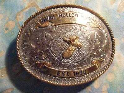 Belt Buckle For Quail Hollow Ranch  By Montana Silver Smiths Sterling Plate