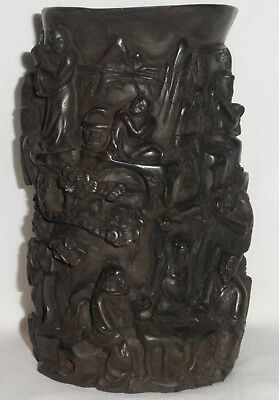 Old Chinese Carved Wood Brush Pot, Bitong With 7 Sages, Signed