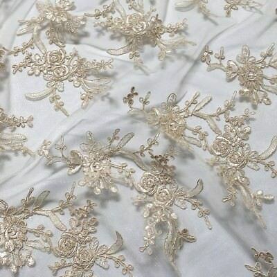 Gorgeous Leylani Lace Ivory Mesh Fabric perfect for wedding and events 5 yards