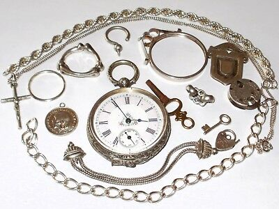 Antique/vintage Mixed Lot Of Silver, Incl. Working Pocket Watch, Chains, Etc.