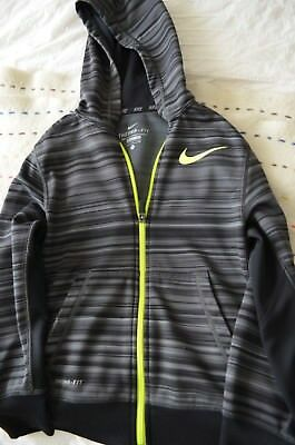 Nike Dri-Fit Hoodie Youth Small Long Sleeve Grey/Black Pullover Zipper