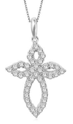 Fashion Cross Pendant Necklace 1.60Ct Natural Real Diamond 14K Yellow Solid Gold