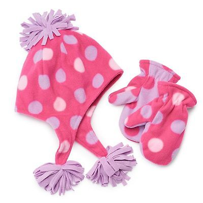 Toddler Girls Pink  Fleece Hat and Mittens Set size 2T-4T (Jumping Beans)