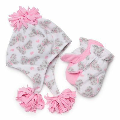 Toddler Girls Fleece Hat and Mittens Set size 2T-4T (Jumping Beans)