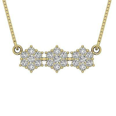 Genuine Diamond Women Fashion Pendant Necklace I1 H 1.75Ct 14K Solid Yellow Gold