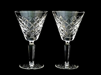 2 Waterford Crystal Tyrone Vintage Water Goblets Glasses